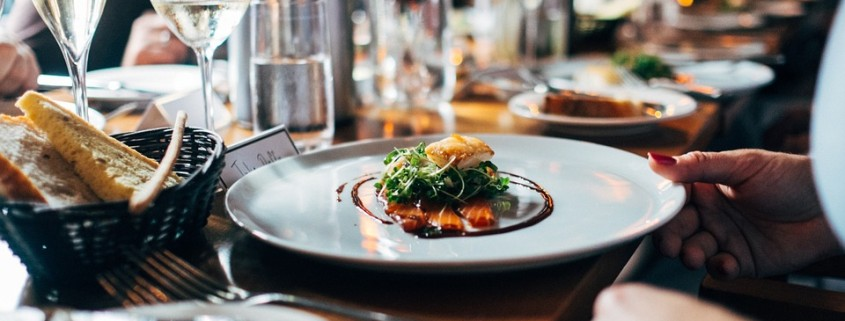 Tagrisk Restaurant Safety - Restaurant, Food, Salmon on a Dinner Dish with Glasses